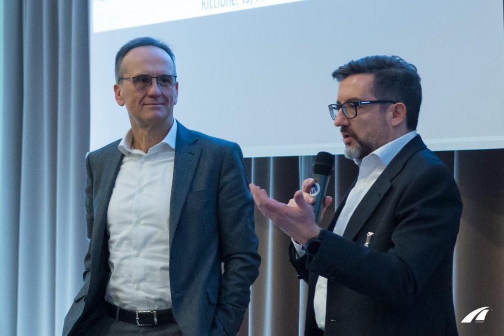 Tullio Pirovano, CEO del gruppo Lutech e Alberto Roseo, Managing Director di Lutech sul palco del Lutech Technology & Sinergy KickOff 2018