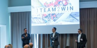 Tullio Pirovano, CEO del gruppo Lutech, Andrea Navalesi, CEO Sinergy, e Alberto Roseo, Managing Director di Lutech sul palco del Lutech Technology & Sinergy KickOff 2018
