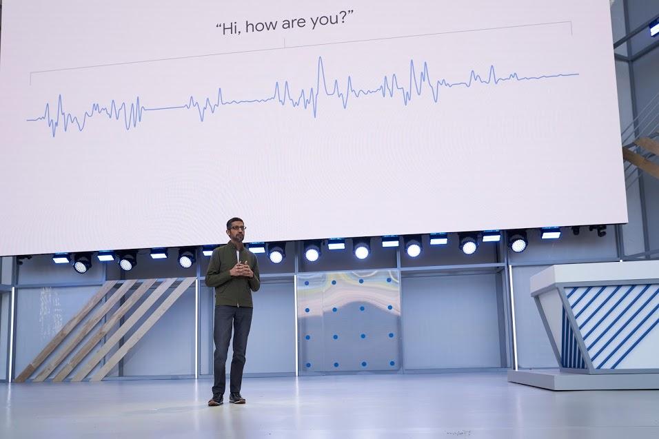 Sundar Pichai, Google CEO, durante la presentazione Google Duplex a Google I/0 2018