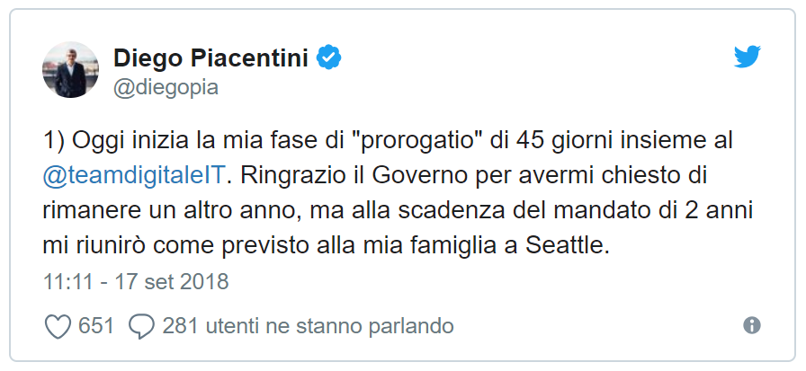 Il Twit di Diego Piacentini