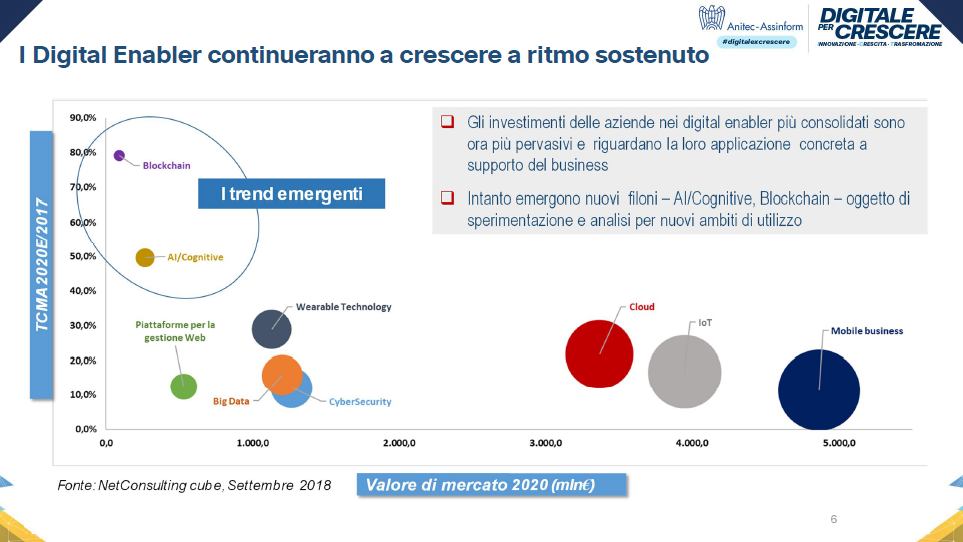 I Digital Enabler continueranno a crescere a ritmo sostenuto - Fonte: Anitec-Assinform