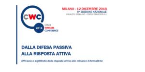 Cyber Warfare Conference 2018 @ Centro Congressi Palazzo delle Stelline, Sala Leonardo | Milano | Lombardia | Italia