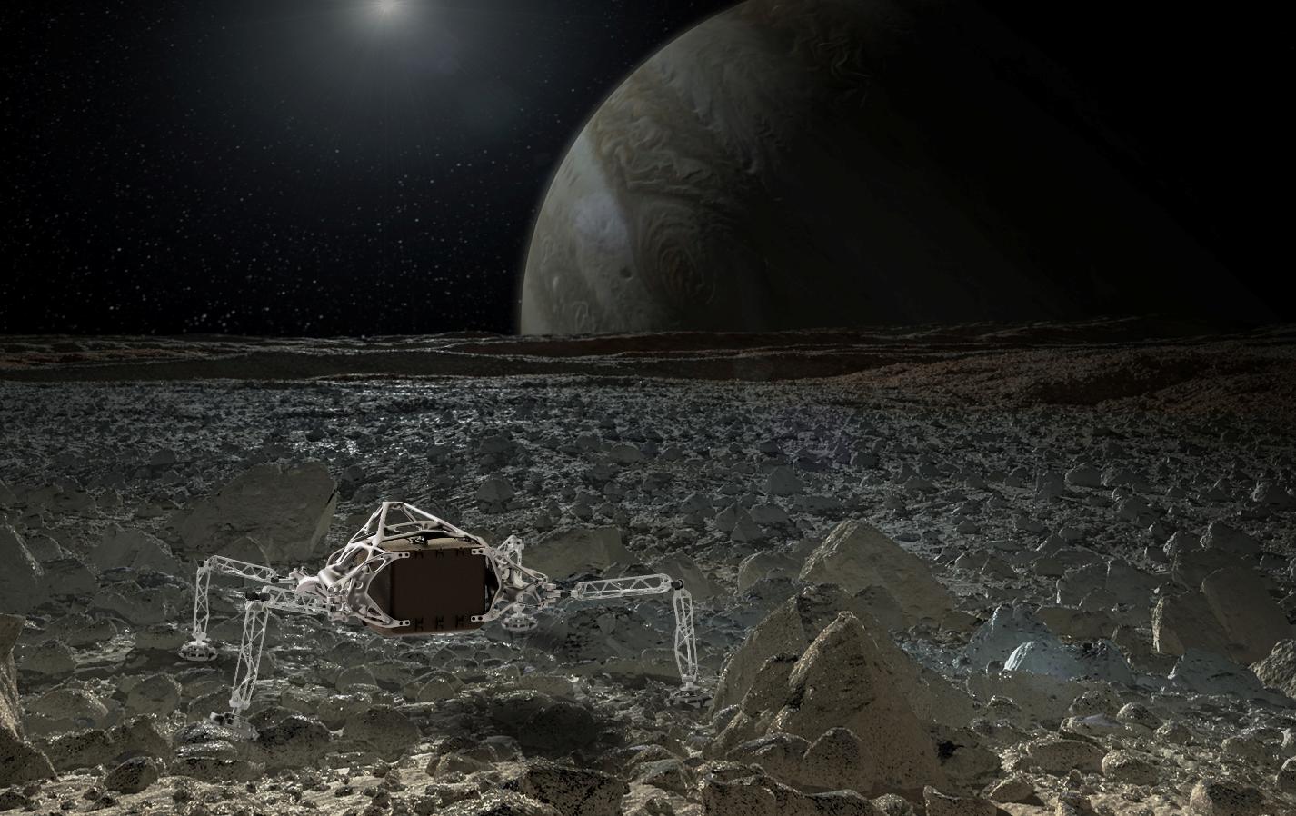Il rendering del lander generativo nello spazio