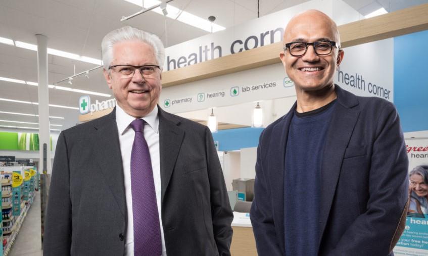 Satya Nadella, CEO di Microsoft e Stefano Pessina, Vicepresidente Esecutivo e Amministratore Delegato di WBA