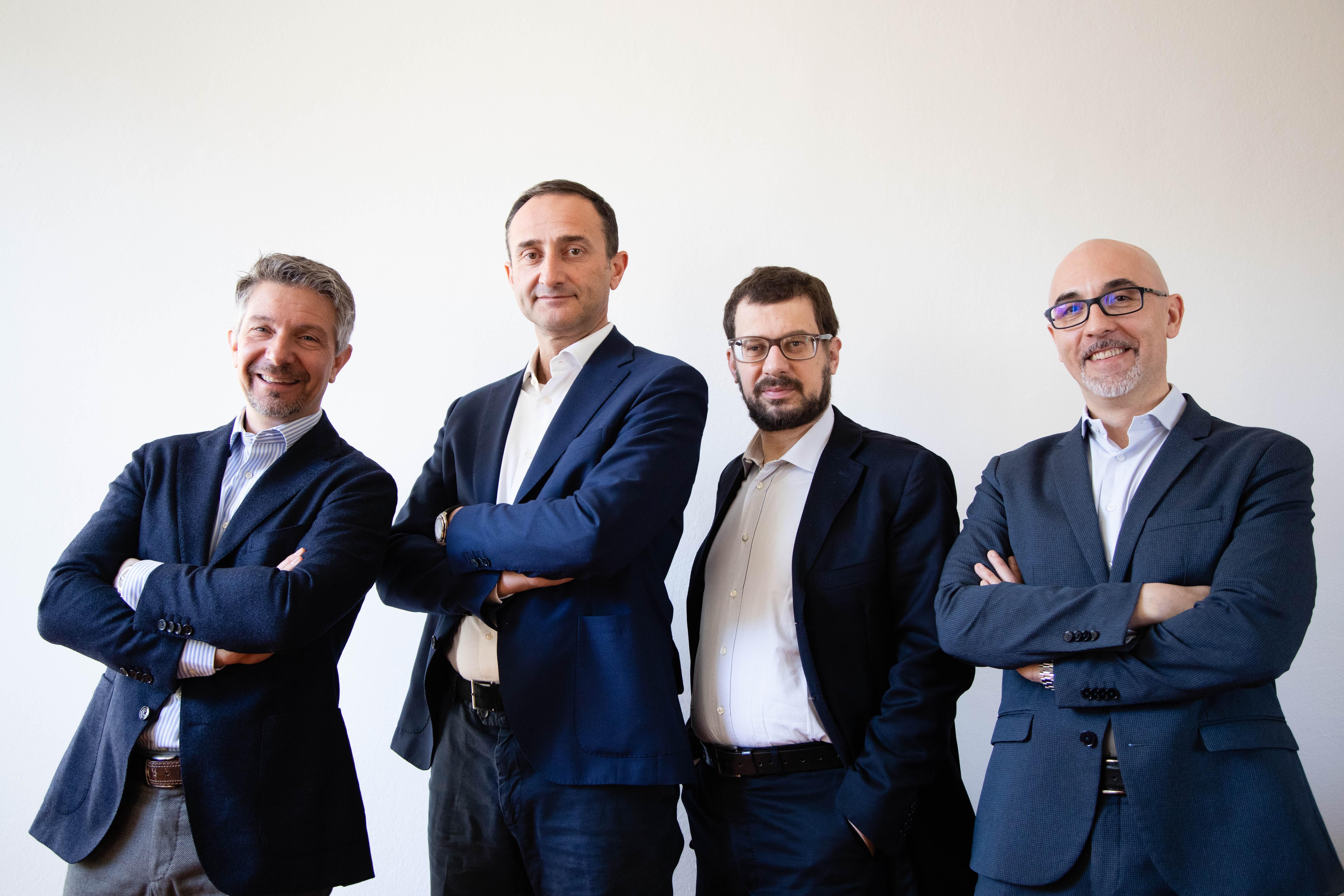 Il team di Amilon: da sinistra a destra: Fabio Regazzoni, socio fondatore e Ceo, Andrea Verri, socio fondatore e Ceo, Renato Buontempo, Cio e Valerio Pacaccio, Coo