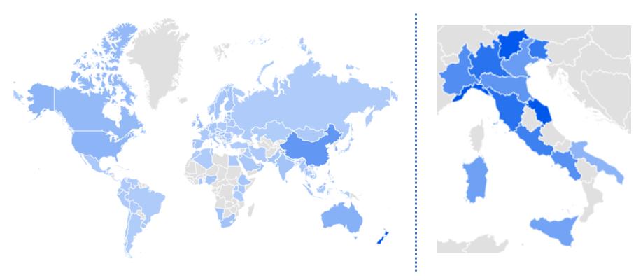 Fonte: Google Trends -Interesse per area geografica - numero di ricerche durante il 2018