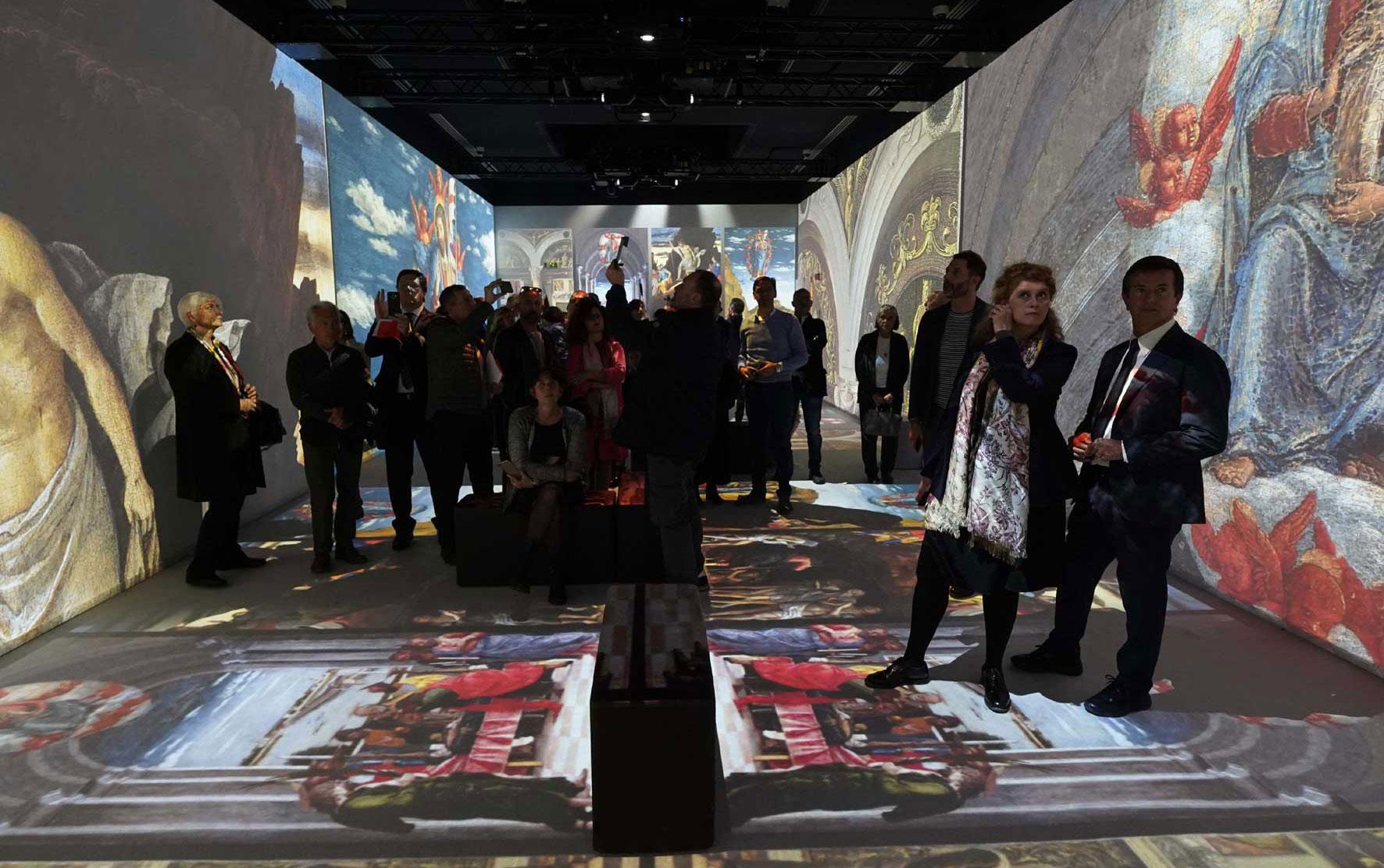 """L'esperienza immersiva """"Mantegna Experience"""" allestita con dodici video-proiettori Epson avvolge i visitatori con 300 m2 di immagini del Mantegna - ph Gianfranco Rota"""