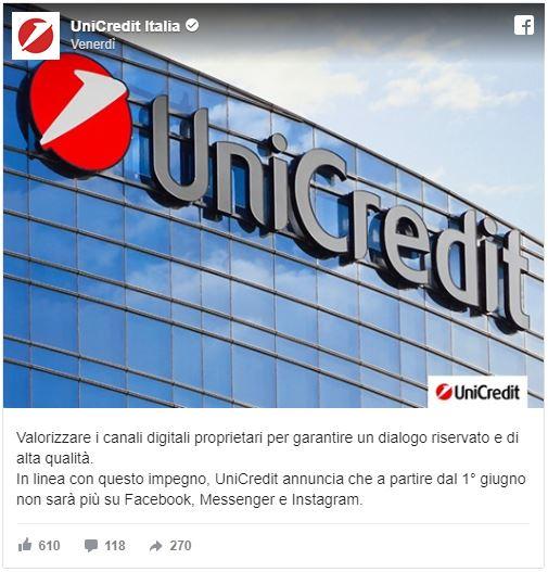 UniCredit annuncia che non sarà più su Facebook, Messenger e Instagram
