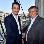 Antony Cahill, managing director european regions di Visa & Luigi Brugnaro, sindaco di Venezia