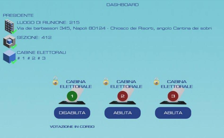 eVoting - Una schermata della piattaforma allo studio