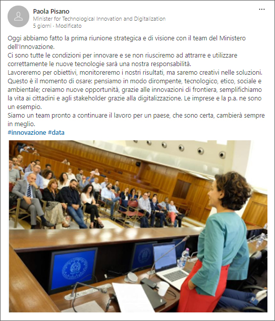 Post di Paola Pisano, ministro dell'Innovazione Tecnologica e Digitalizzazione