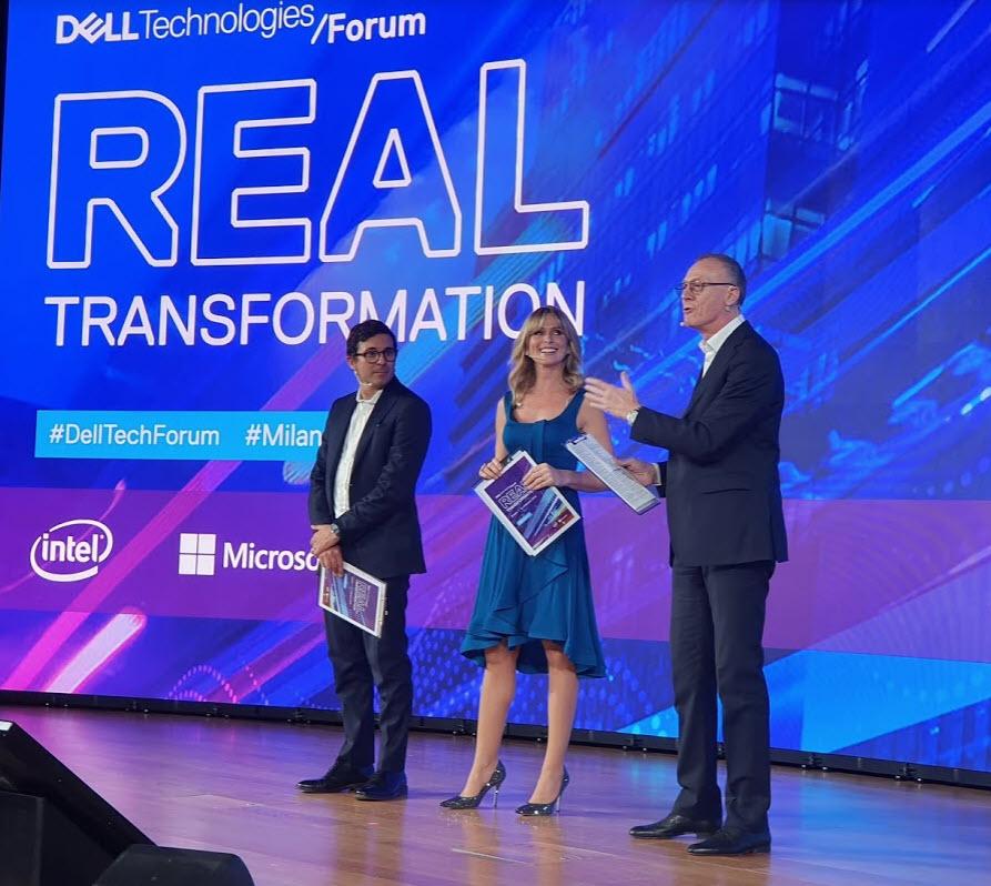 Dell Technologies Forum 2019 - Federico Suria e Filippo Ligresti a fianco di Valeria Autieri