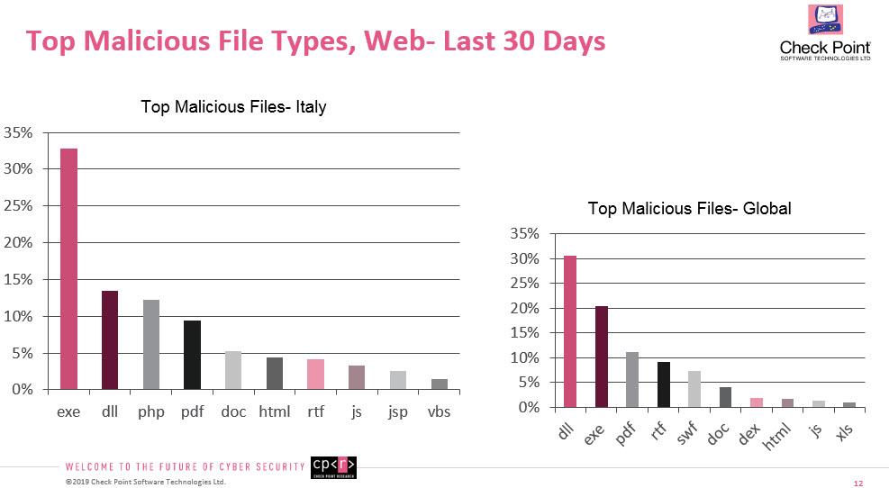 Il formato dei file più utilizzati per gli attacchi via Web