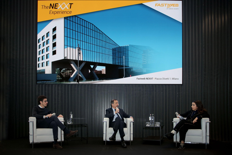 Alberto Calcagno, amministratore delegato di Fastweb, Giuseppe Sala, Sindaco di Milano e Imen Boulahrajane, economista e influencer