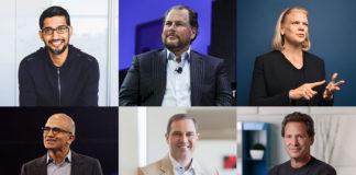 Davos - Sundar Pichai, Ceo di Google - Marc Benioff, Ceo di Salesforce - Ginni Rometty, Ceo di Ibm - Satya Nadella, Ceo di Microsoft - Chuck Robbins, Ceo di Cisco - Dan Schulman, Ceo di PayPal