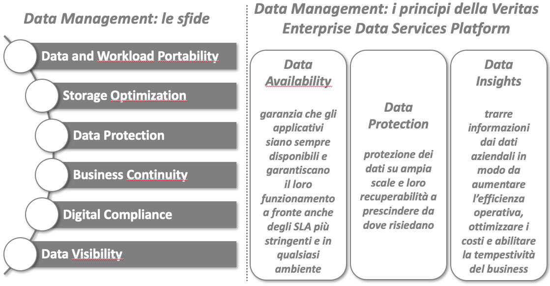 Data Management: le sfide e i principi della Veritas Enterprise Data Services Platform - Fonte: NetConsulting cube su materiale Veritas, Febbraio 2020