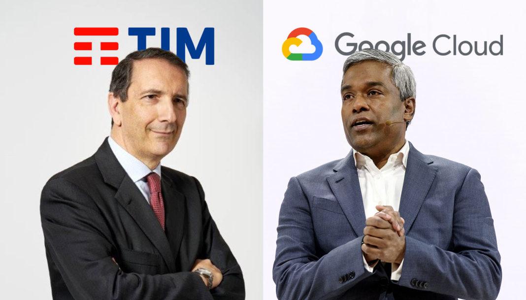 Luigi Gubitosi, amministratore delegato di TIM e Thomas Kurian, Ceo di Google Cloud