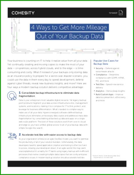 Whitepaper: 4 Ways to Get More Mileage Out of Your Backup Data
