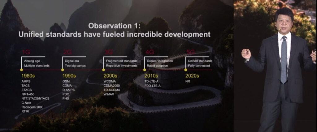 I vantaggi degli standard unificati per il progresso delle Tlc, a destra il Ceo a rotazione di Huawei Technologies Guo Ping