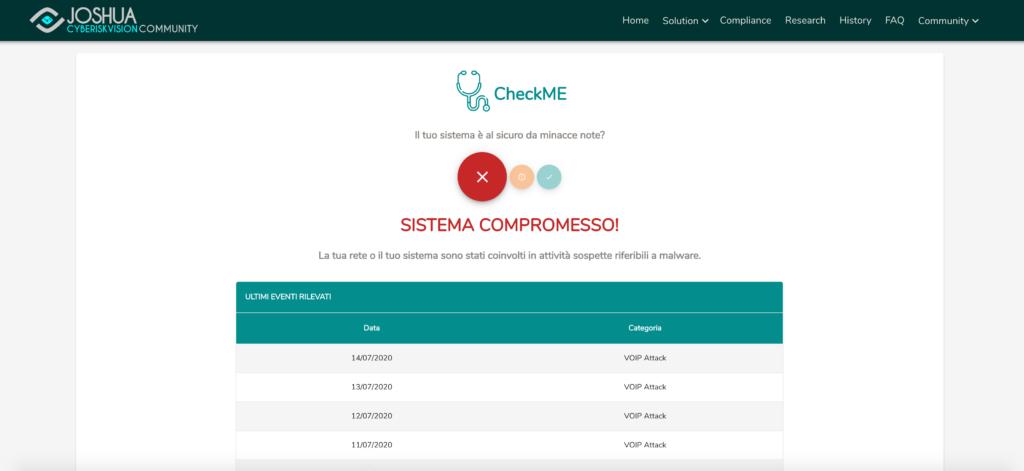 Almaviva CheckMe - La segnalazione di compromissione da parte del servizio basato su piattaforma Joshua