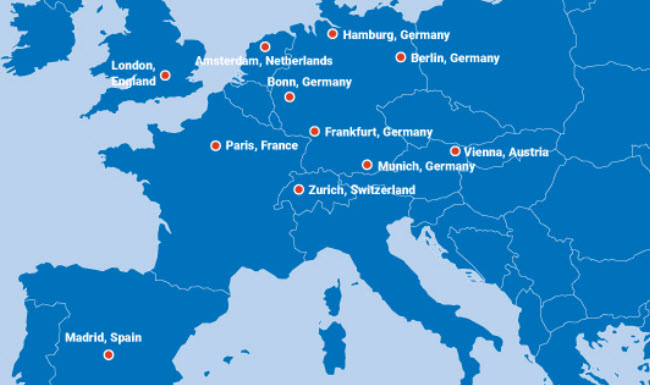 Ntt - La mappa dei data center in Emea