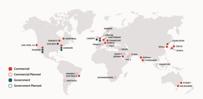 Oracle - Le cloud region operative