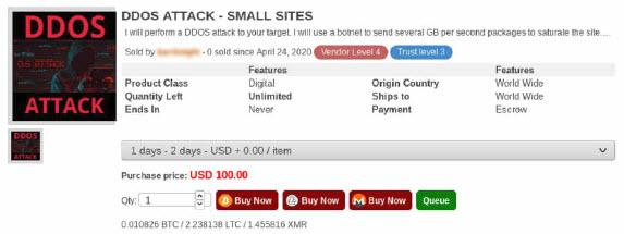Offerta di attacco DDoS nel Dark market