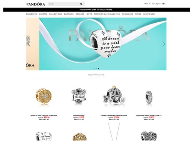 Check Point - Esempio di un sito fake con false proposte commerciali Pandora