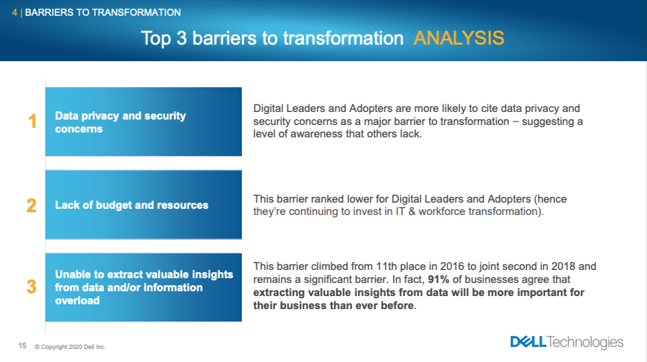 Dell Technologies - Top 3 barriers to transformation - Analysis