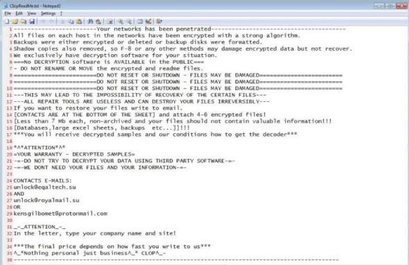 Clop Il messaggio del ransomware nel blocco appunti di Windows