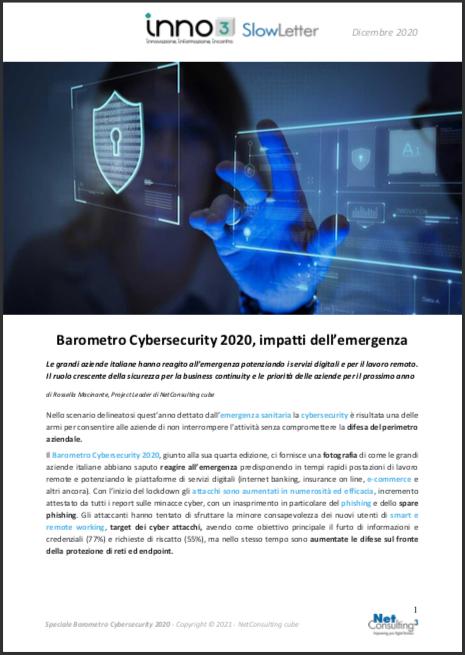 Speciale Barometro Cybersecurity 2020 - SlowLetter Dicembre 2020