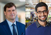 Jim Farley, presidente e Ceo di Ford e Sundar Pichai, Ceo di Google e Alphabet