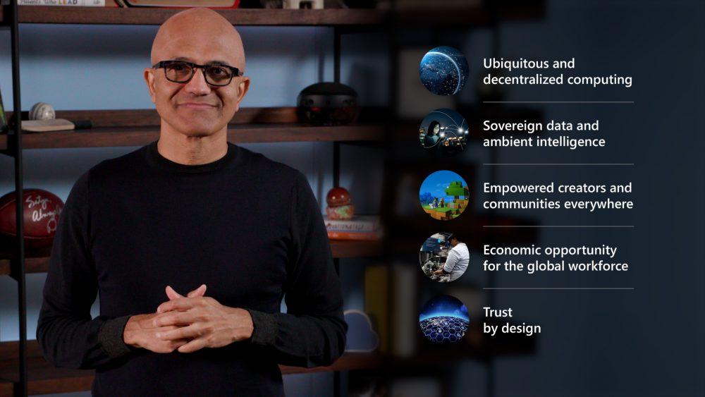 Satya Nadella, Ceo di Microsoft, in occasione di Ignite 2021