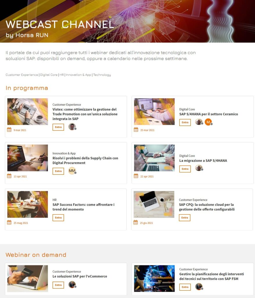 Webcast Horsa Channel