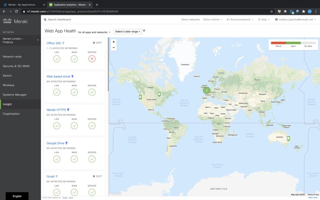 Cisco Meraki – La visibilità sulle applicazioni Web (fonte: Cisco)