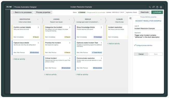 Creator Workflows - Una vista di Process Automator Designer