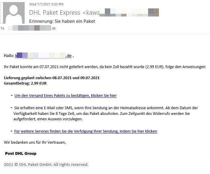Bitdefender - Il messaggio email proposto nel tentativo di phishing della variante tedescaBitdefender - Il messaggio email proposto nel tentativo di phishing della variante tedesca