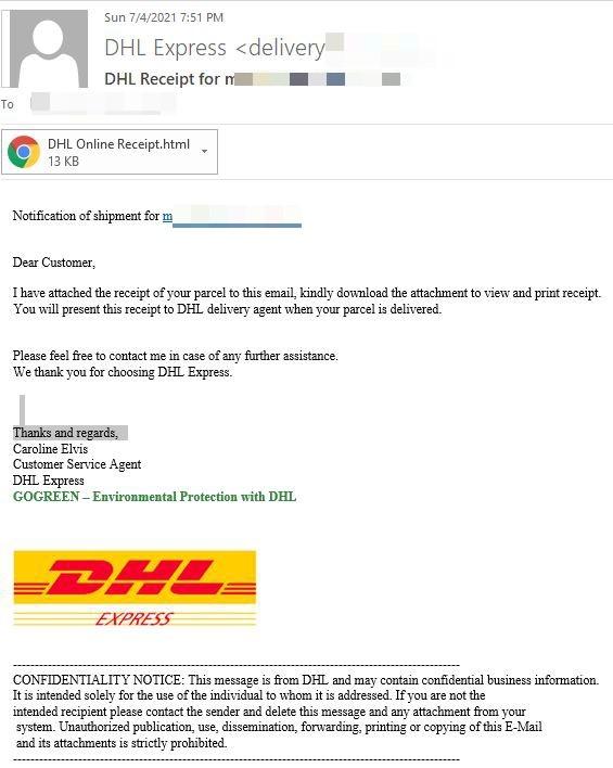 Bitdefender - Il messaggio di posta con il tentativo di phishing della variante inglese