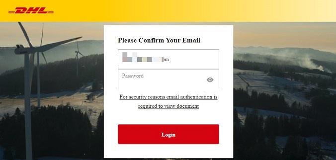 Bitdefender - Il tentativo di phishing con il brand Dhl che richiede l'inserimento della password email