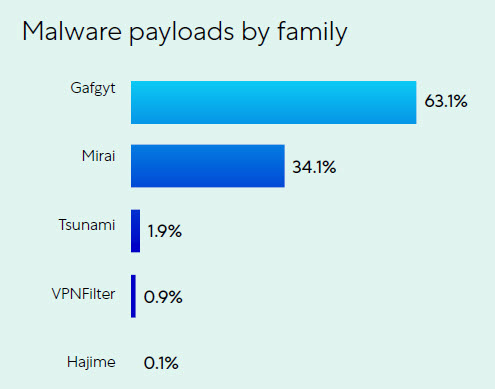 Malware Payload - Suddivisione per famiglie negli attacchi IoT (fonte: Zscaler)