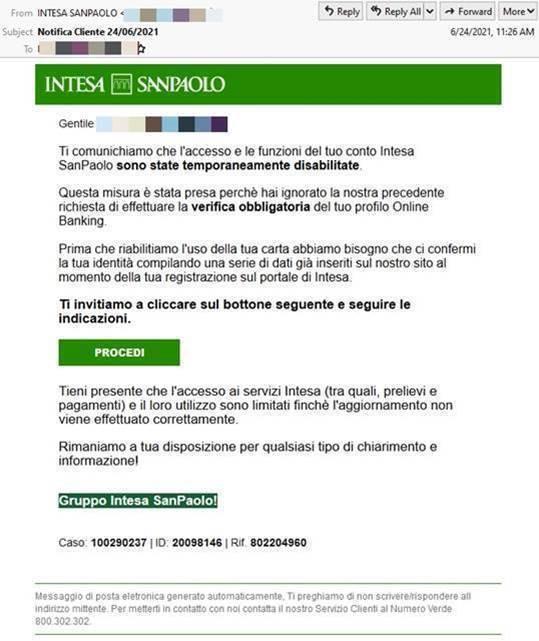 Il tentativo di phishing ai danni dei correntisti di Intesa Sanpaolo