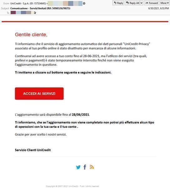 Il tentativo di phishing ai correntisti Unicredit