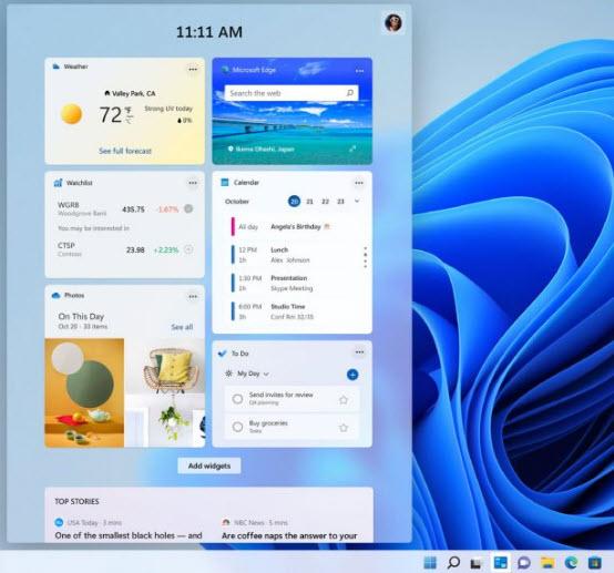 Windows 11 - I widget del nuovo OS Microsoft